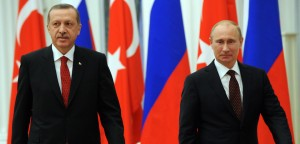 Russian President Vladimir Putin (R) and Turkish Prime Minister Recep Tayyip Erdogan attend on a press conference after their meeting to discuss differences on Syria as UN Security Council prepared to vote on the conflict, in Moscow's Kremlin on July 18, 2012. Russia said today a decisive battle was in progress in Syria and rejected a Western-backed UN resolution on the crisis as it would mean taking sides with a revolutionary movement. AFP PHOTO/KIRILL KUDRYAVTSEV (Photo credit should read KIRILL KUDRYAVTSEV/AFP/GettyImages)